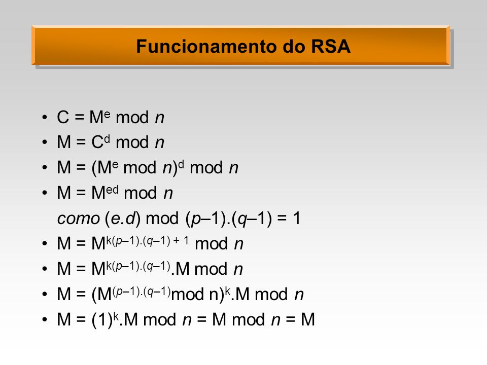 Funcionamento do RSA C = Me mod n M = Cd mod n M = (Me mod n)d mod n