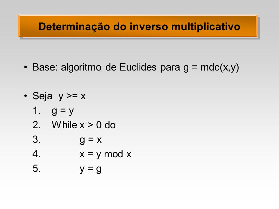 Determinação do inverso multiplicativo
