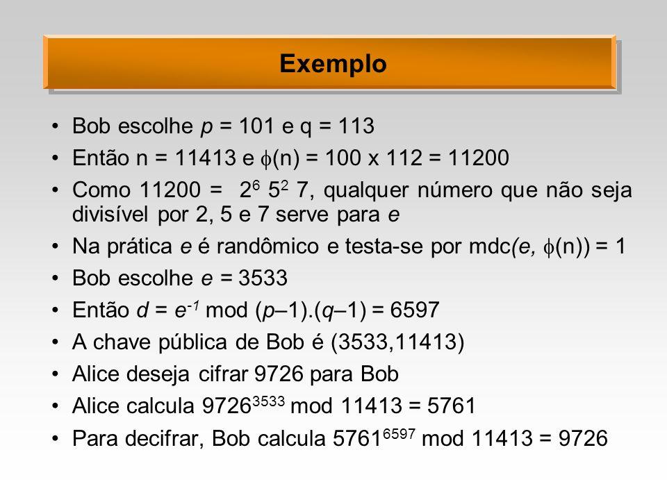 Exemplo Bob escolhe p = 101 e q = 113