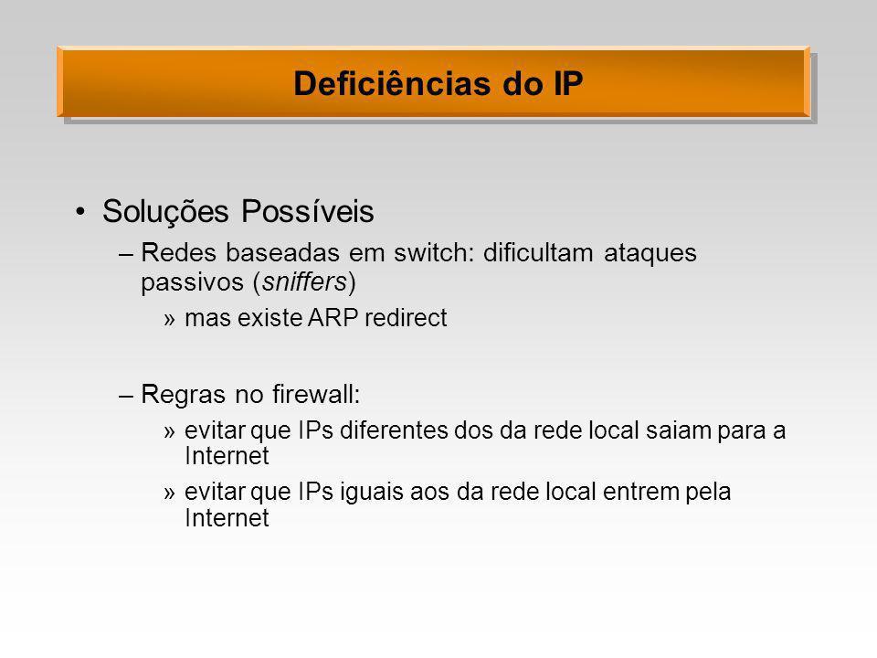 Deficiências do IP Soluções Possíveis