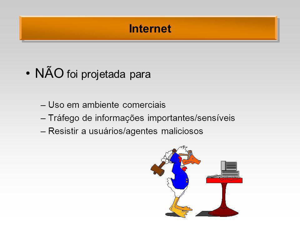 NÃO foi projetada para Internet Uso em ambiente comerciais