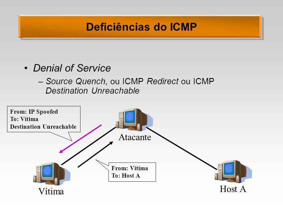 Deficiências do ICMP Denial of Service Atacante Host A Vítima