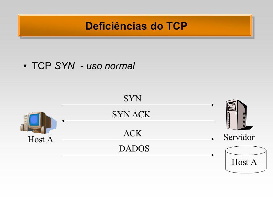 Deficiências do TCP TCP SYN - uso normal SYN SYN ACK ACK Servidor