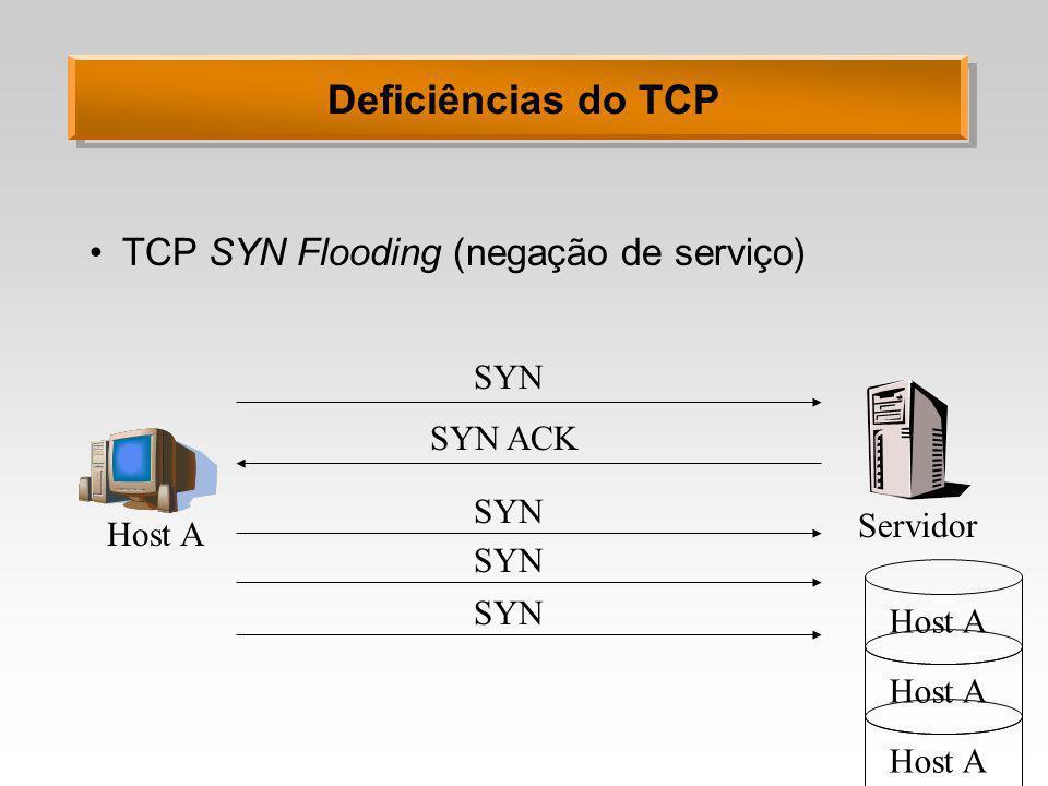 Deficiências do TCP TCP SYN Flooding (negação de serviço) SYN SYN ACK