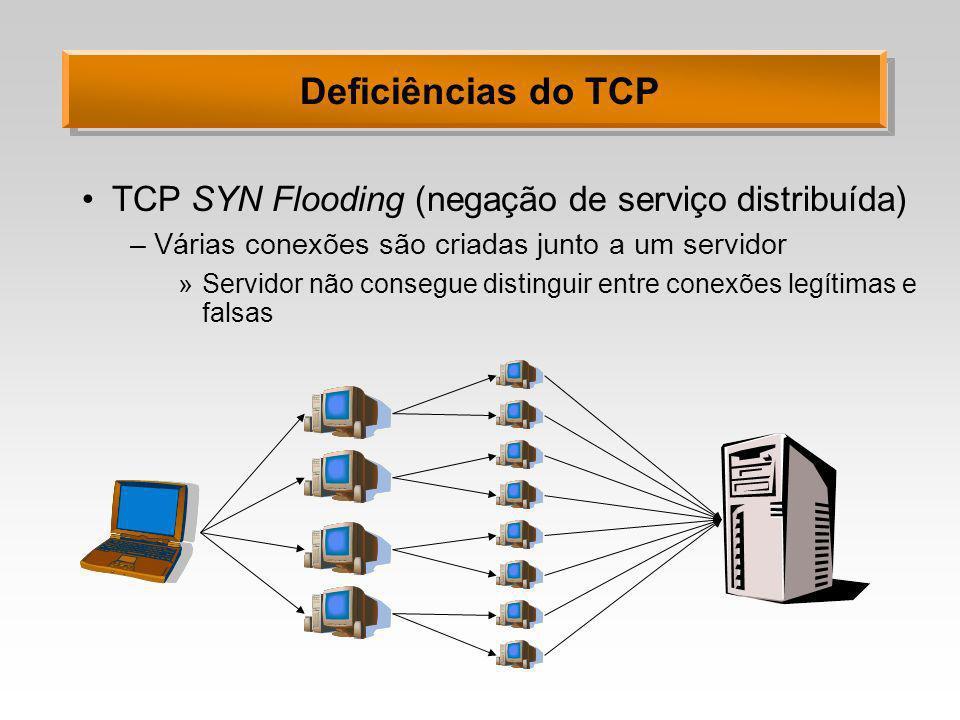 Deficiências do TCP TCP SYN Flooding (negação de serviço distribuída)