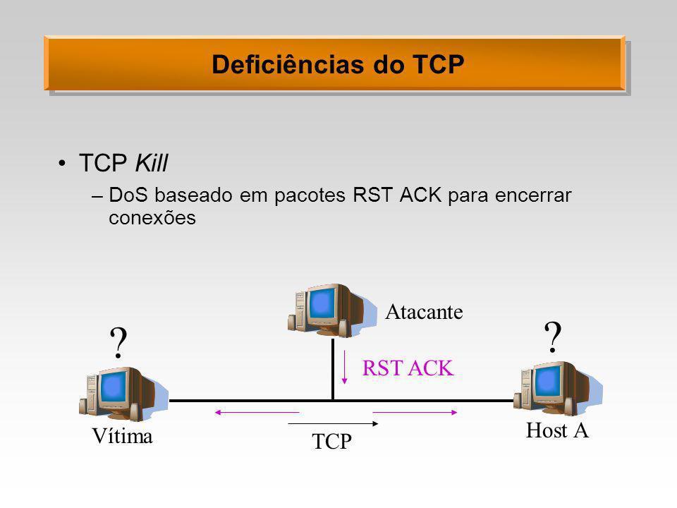 Deficiências do TCP TCP Kill Atacante RST ACK Host A Vítima TCP