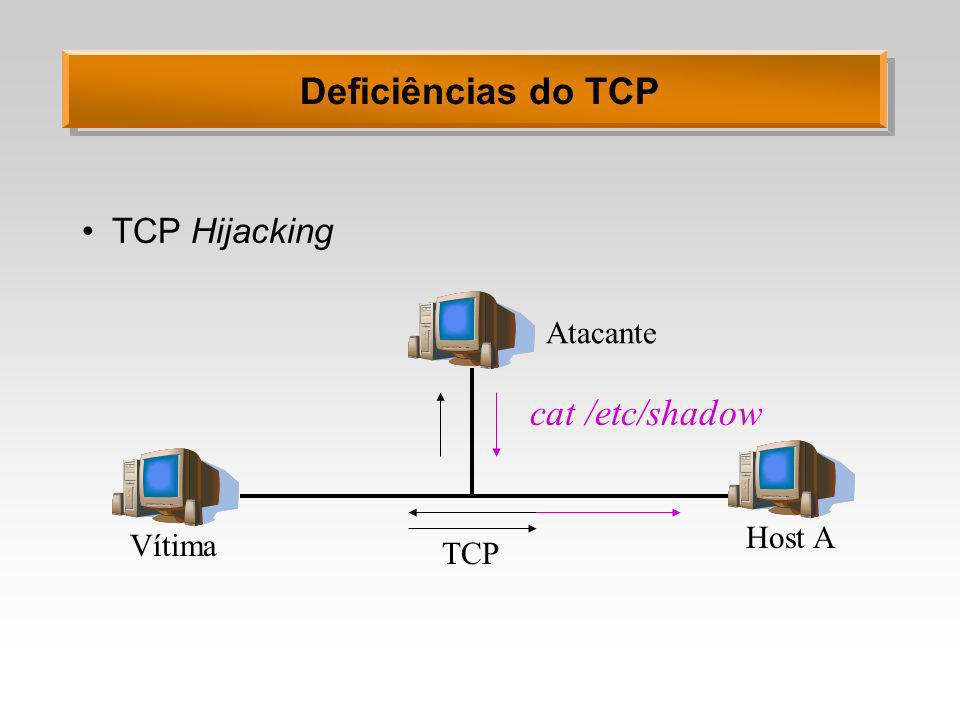 Deficiências do TCP cat /etc/shadow TCP Hijacking Atacante Host A