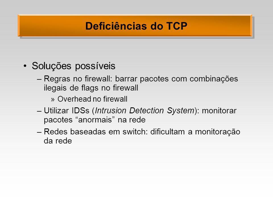 Deficiências do TCP Soluções possíveis
