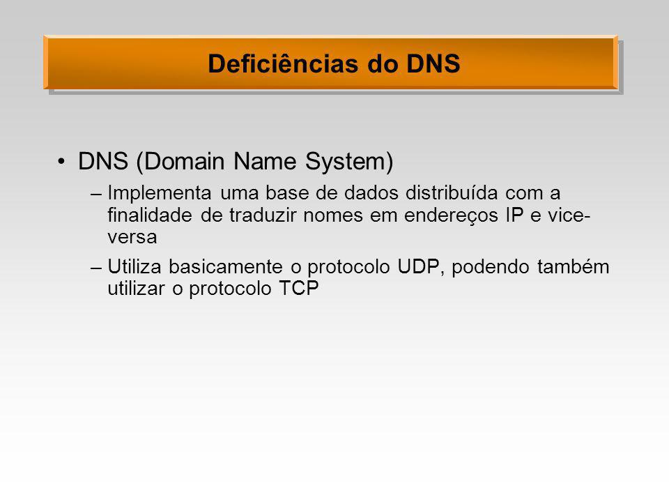 Deficiências do DNS DNS (Domain Name System)