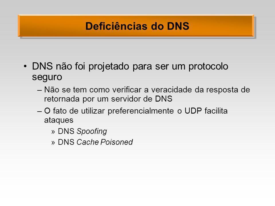 Deficiências do DNS DNS não foi projetado para ser um protocolo seguro