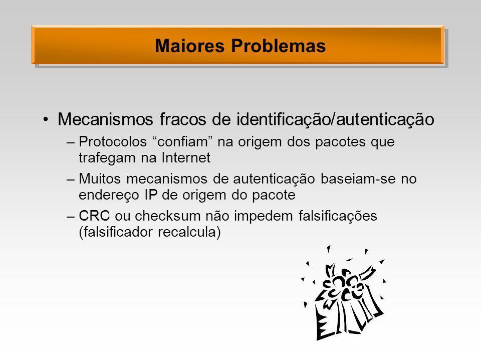 Maiores Problemas Mecanismos fracos de identificação/autenticação