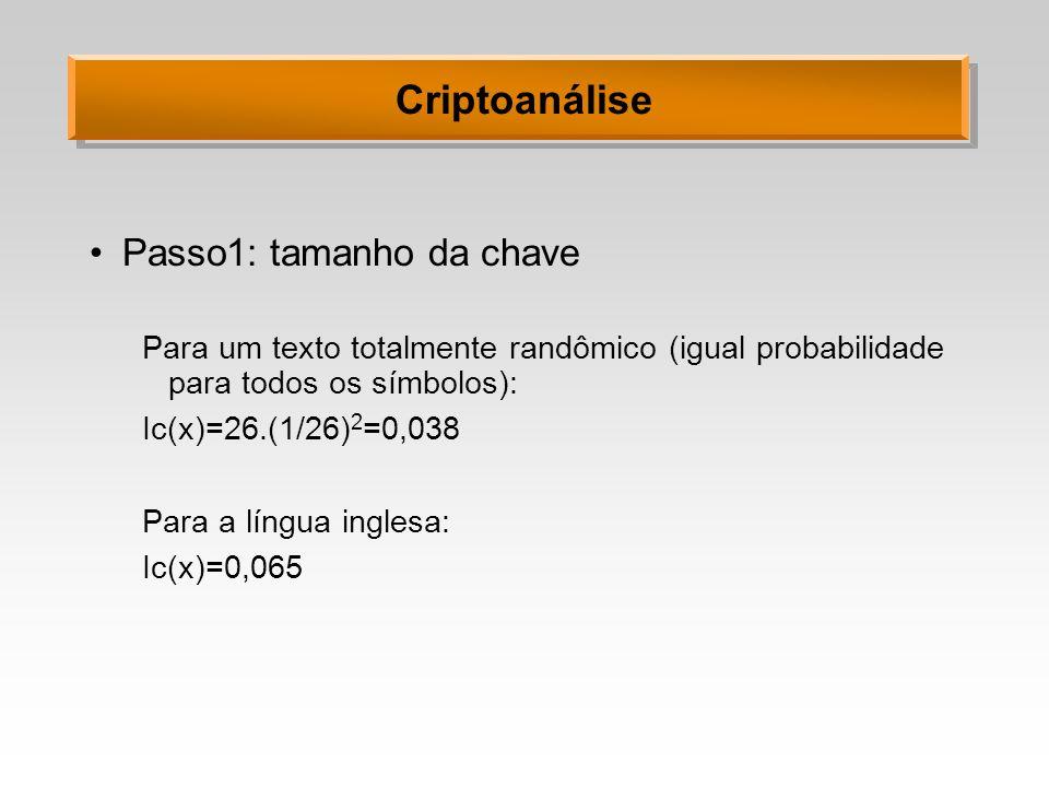 Criptoanálise Passo1: tamanho da chave