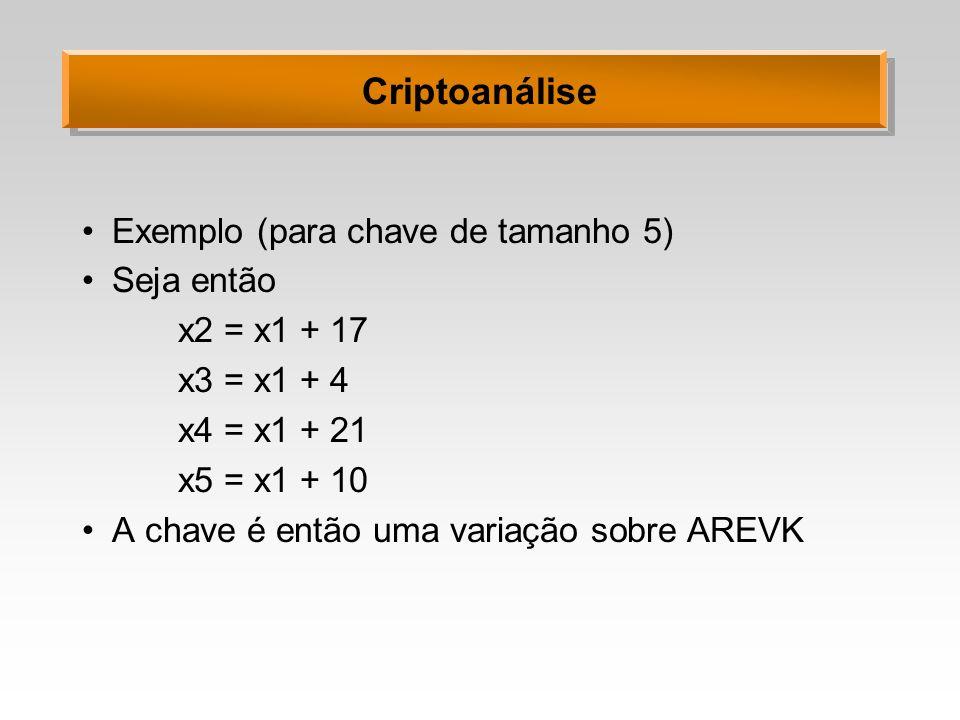 Criptoanálise Exemplo (para chave de tamanho 5) Seja então