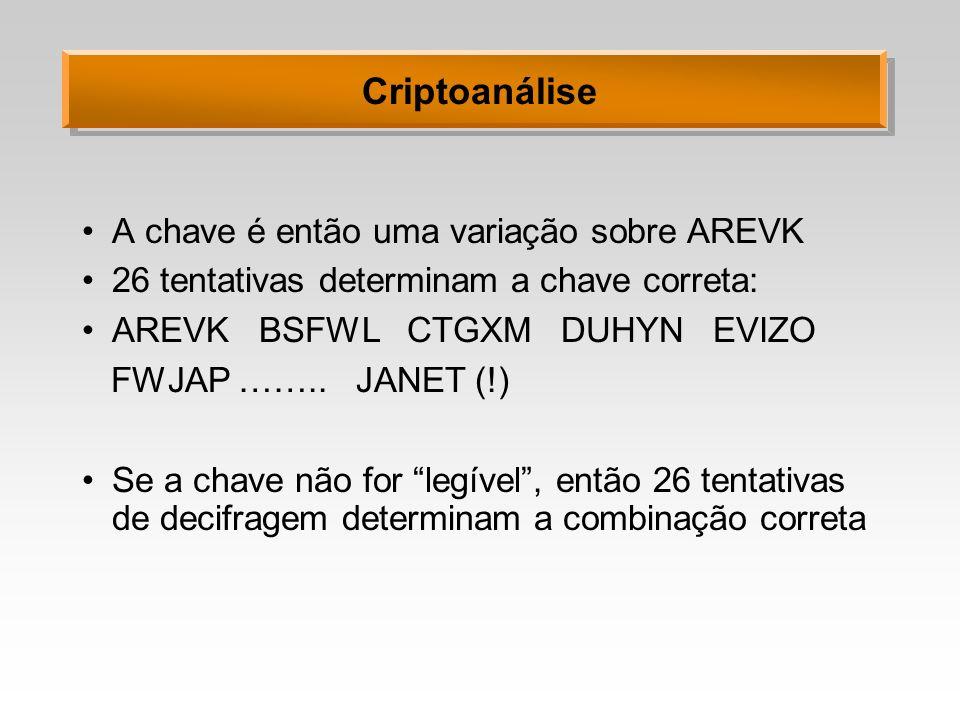 Criptoanálise A chave é então uma variação sobre AREVK