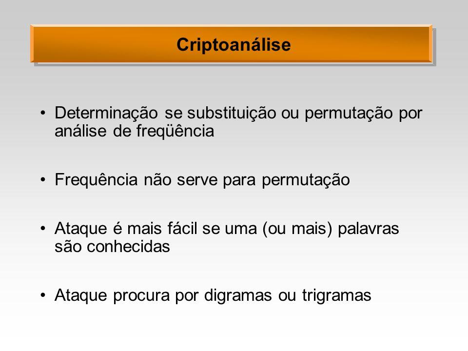 Criptoanálise Determinação se substituição ou permutação por análise de freqüência. Frequência não serve para permutação.