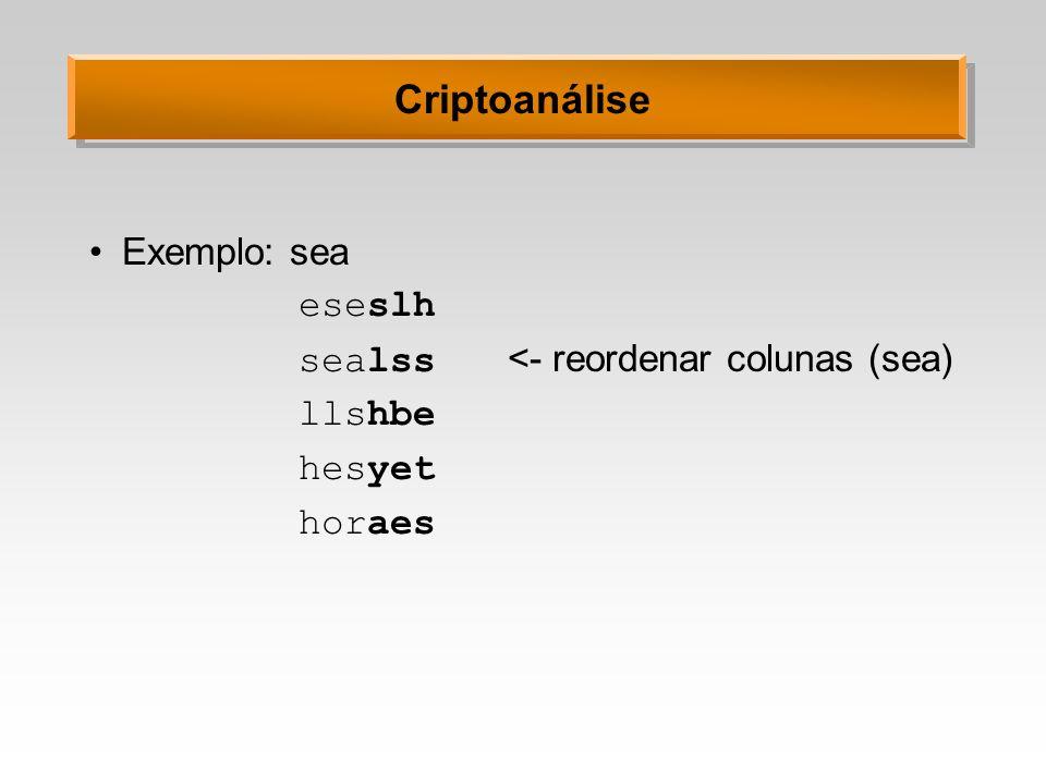 Criptoanálise Exemplo: sea eseslh sealss <- reordenar colunas (sea)