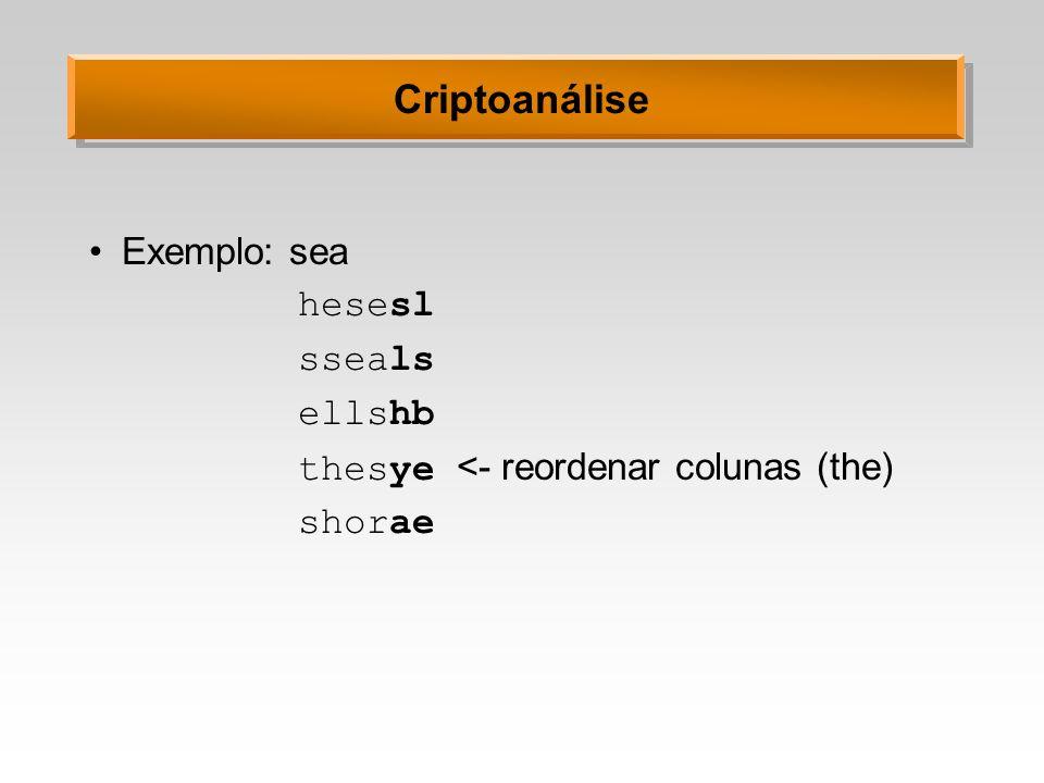 Criptoanálise Exemplo: sea hesesl sseals ellshb