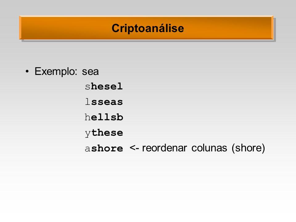 Criptoanálise Exemplo: sea shesel lsseas hellsb ythese