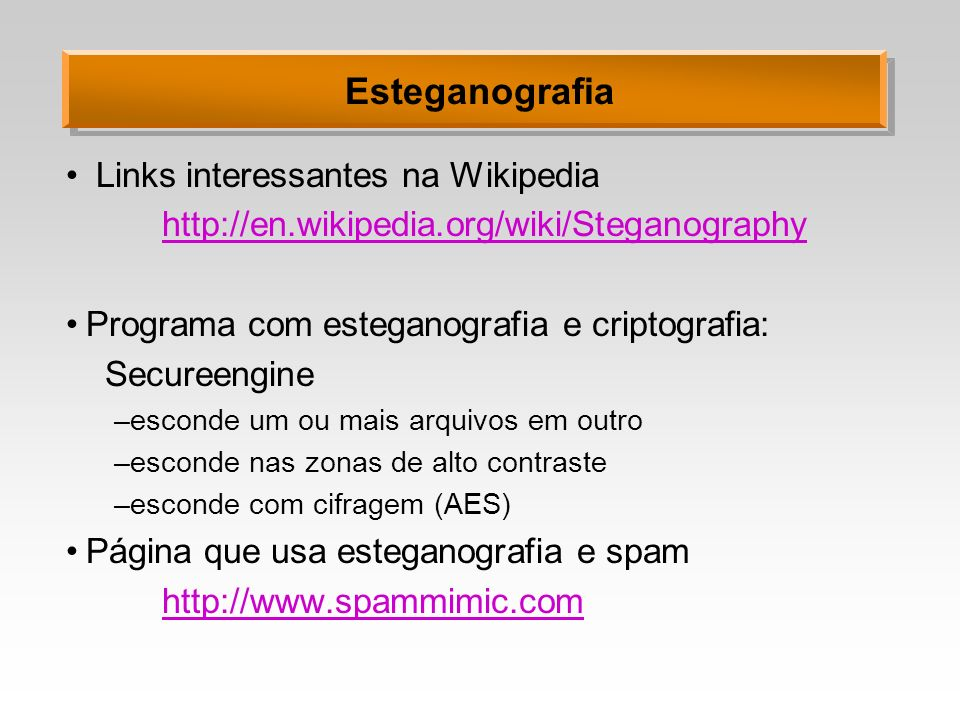 Esteganografia Links interessantes na Wikipedia