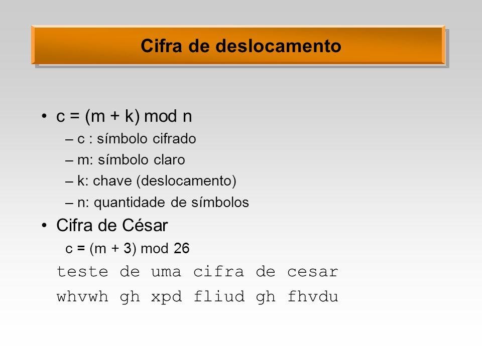 Cifra de deslocamento c = (m + k) mod n Cifra de César