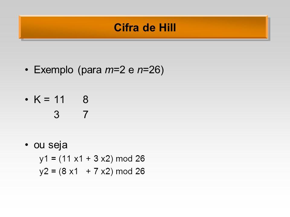 Cifra de Hill Exemplo (para m=2 e n=26) K = 11 8 3 7 ou seja