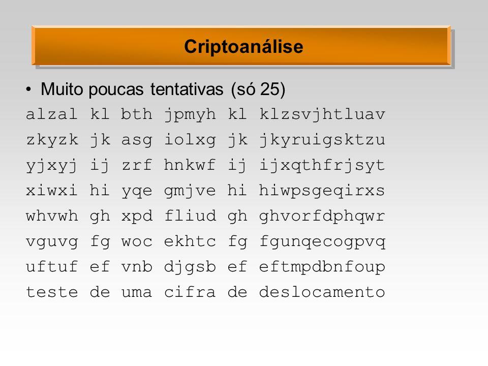 Criptoanálise Muito poucas tentativas (só 25)