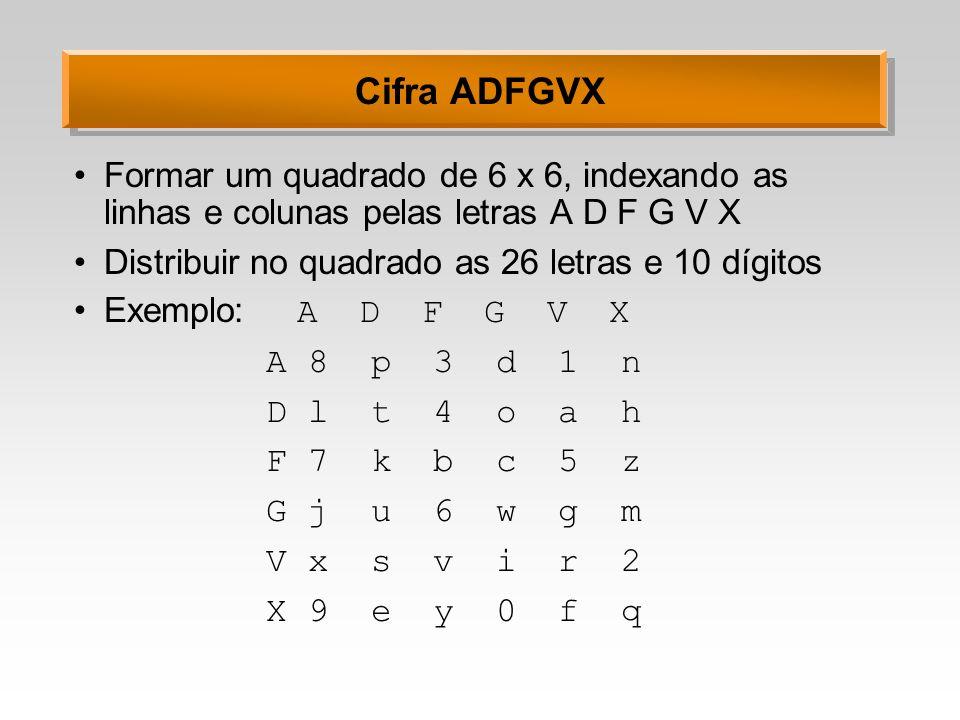 Cifra ADFGVX Formar um quadrado de 6 x 6, indexando as linhas e colunas pelas letras A D F G V X. Distribuir no quadrado as 26 letras e 10 dígitos.