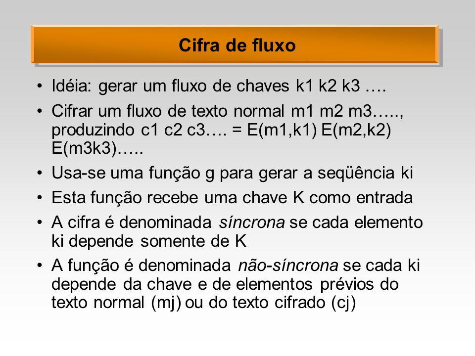 Cifra de fluxo Idéia: gerar um fluxo de chaves k1 k2 k3 ….