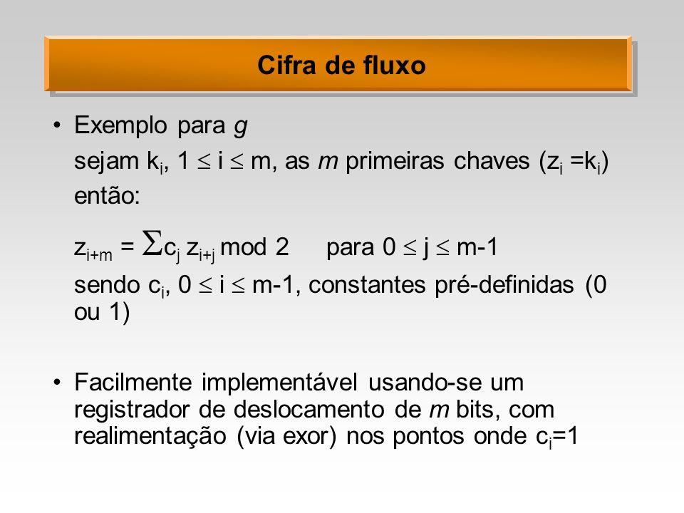 Cifra de fluxo Exemplo para g