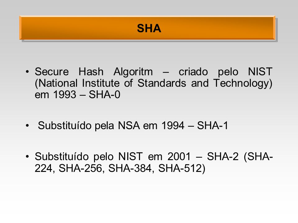 SHA Secure Hash Algoritm – criado pelo NIST (National Institute of Standards and Technology) em 1993 – SHA-0.