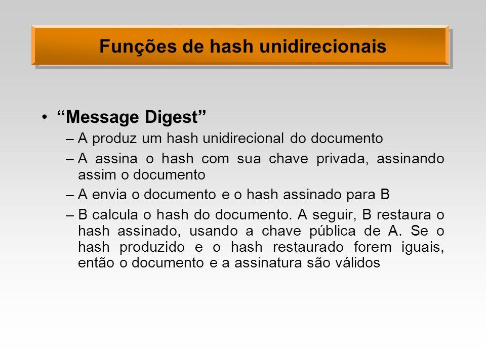 Funções de hash unidirecionais