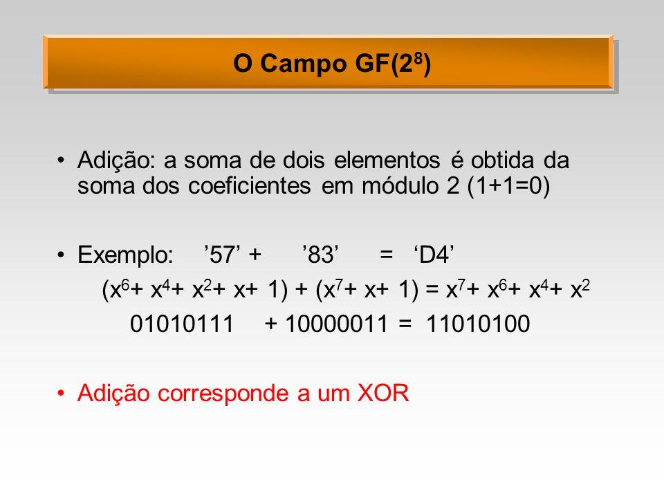 (x6+ x4+ x2+ x+ 1) + (x7+ x+ 1) = x7+ x6+ x4+ x2