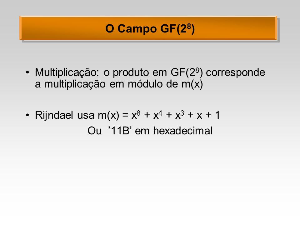 O Campo GF(28) Multiplicação: o produto em GF(28) corresponde a multiplicação em módulo de m(x) Rijndael usa m(x) = x8 + x4 + x3 + x + 1.