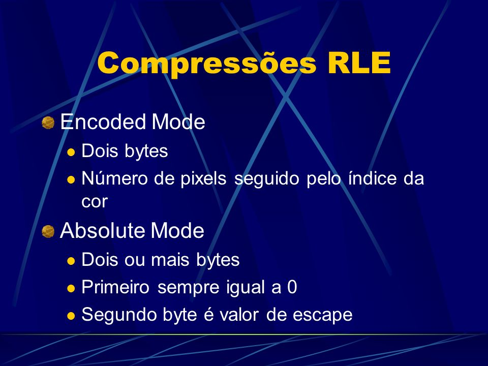 Compressões RLE Encoded Mode Absolute Mode Dois bytes