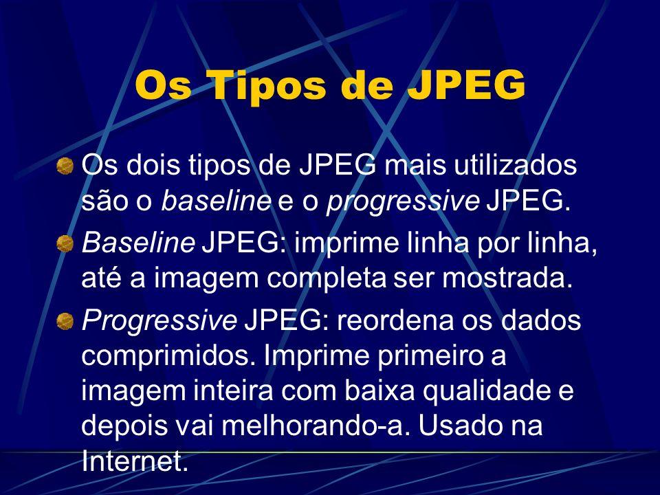 Os Tipos de JPEG Os dois tipos de JPEG mais utilizados são o baseline e o progressive JPEG.