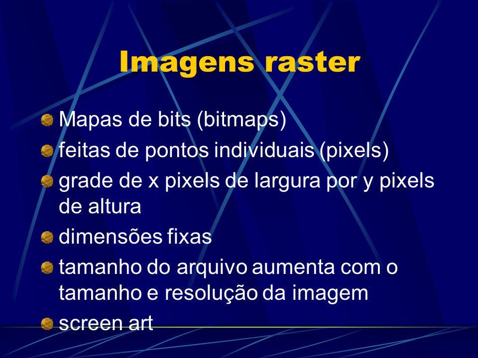 Imagens raster Mapas de bits (bitmaps)
