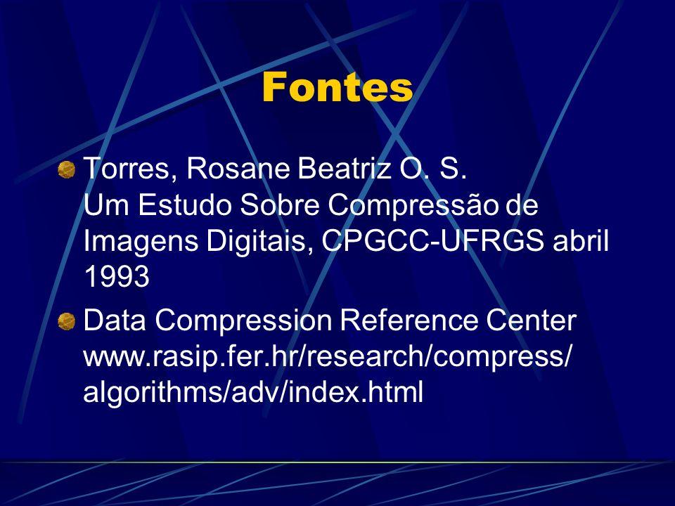 Fontes Torres, Rosane Beatriz O. S. Um Estudo Sobre Compressão de Imagens Digitais, CPGCC-UFRGS abril 1993.