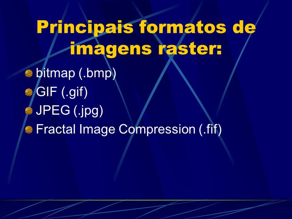 Principais formatos de imagens raster: