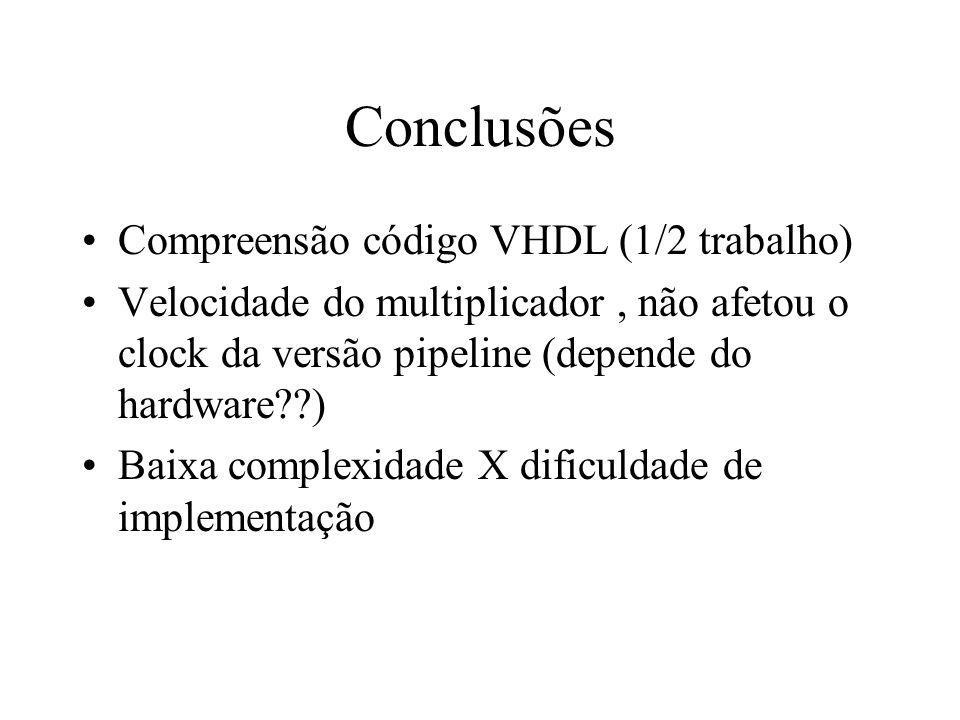 Conclusões Compreensão código VHDL (1/2 trabalho)