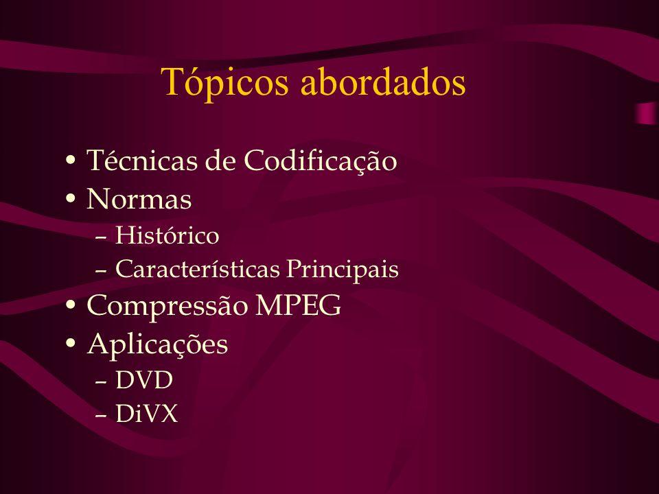 Tópicos abordados Técnicas de Codificação Normas Compressão MPEG