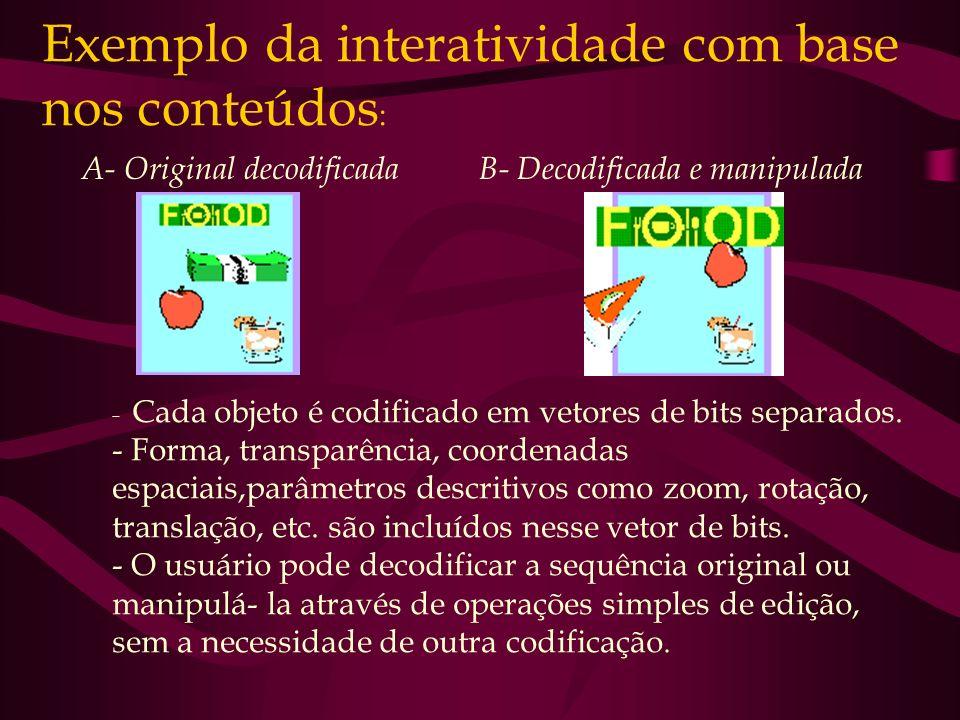 Exemplo da interatividade com base nos conteúdos: