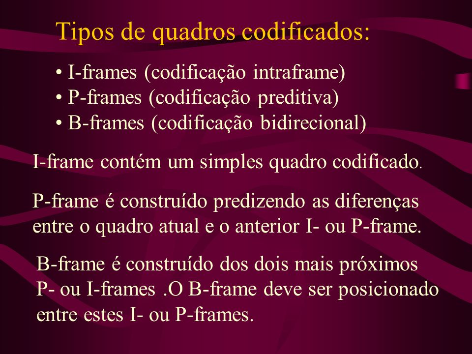 Tipos de quadros codificados: