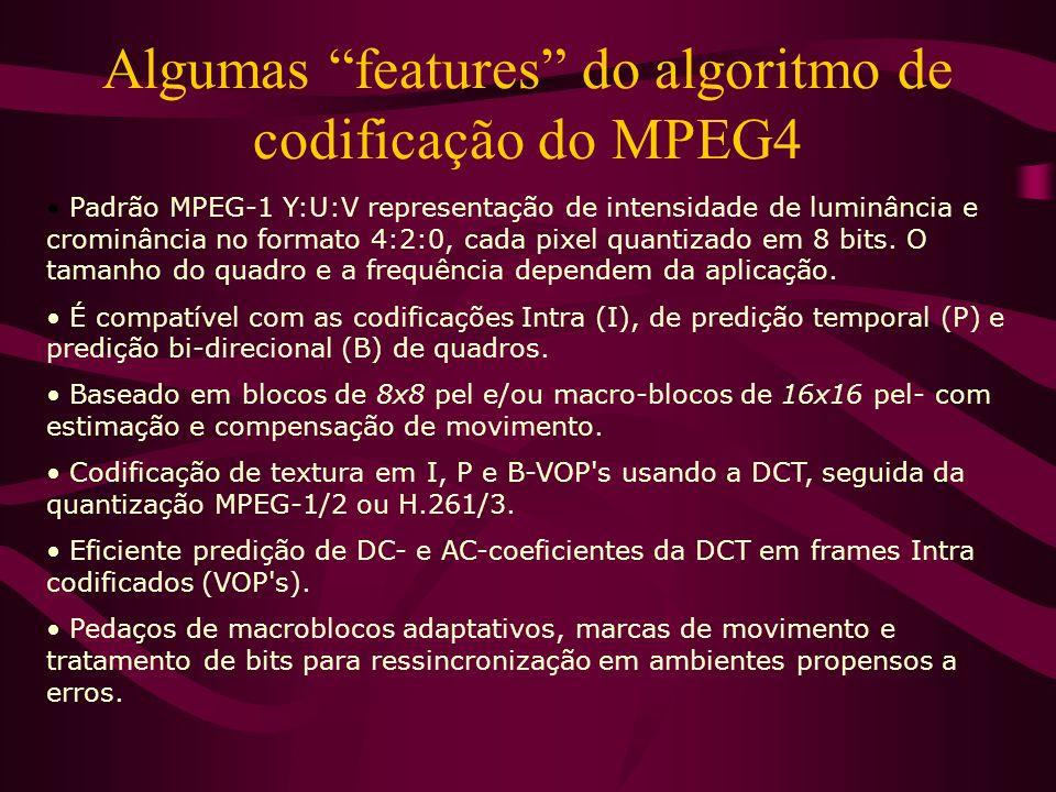 Algumas features do algoritmo de codificação do MPEG4
