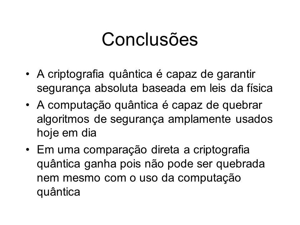 ConclusõesA criptografia quântica é capaz de garantir segurança absoluta baseada em leis da física.
