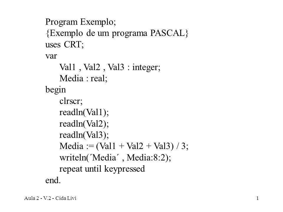 {Exemplo de um programa PASCAL} uses CRT; var
