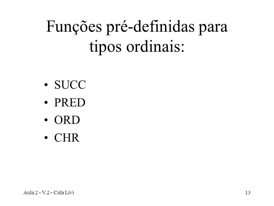 Funções pré-definidas para tipos ordinais: