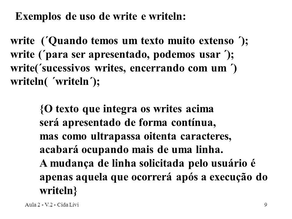 Exemplos de uso de write e writeln: