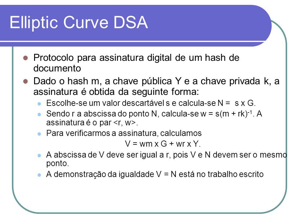 Elliptic Curve DSA Protocolo para assinatura digital de um hash de documento.