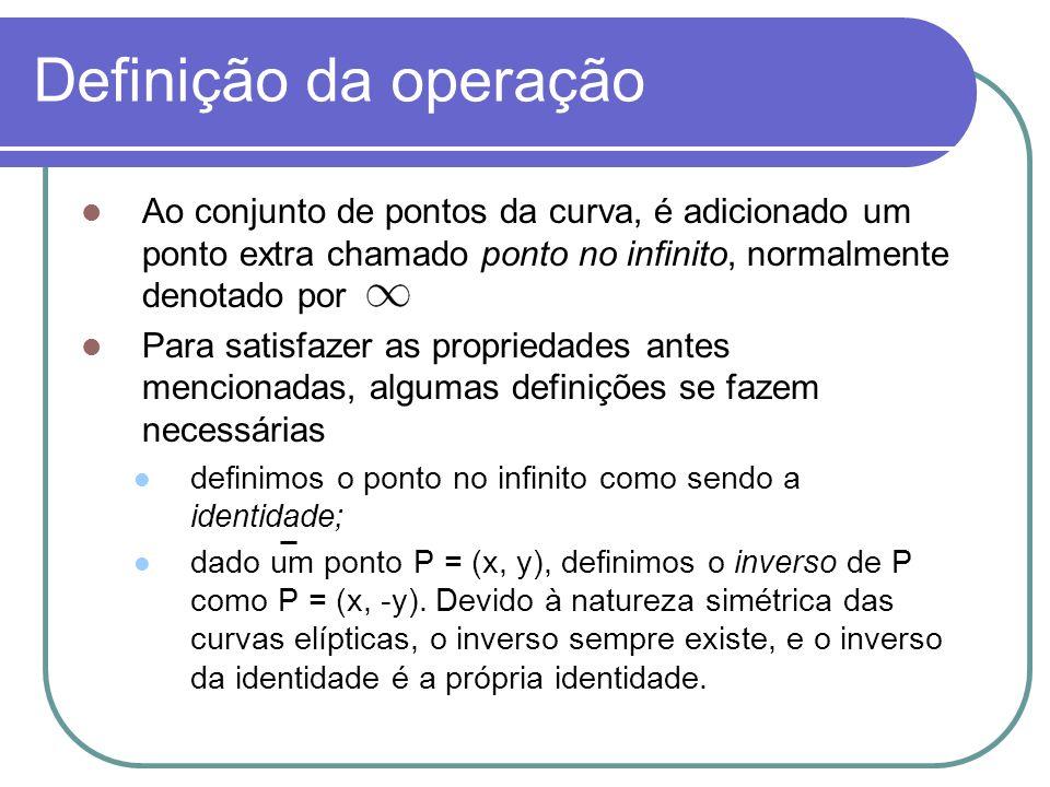Definição da operação Ao conjunto de pontos da curva, é adicionado um ponto extra chamado ponto no infinito, normalmente denotado por.