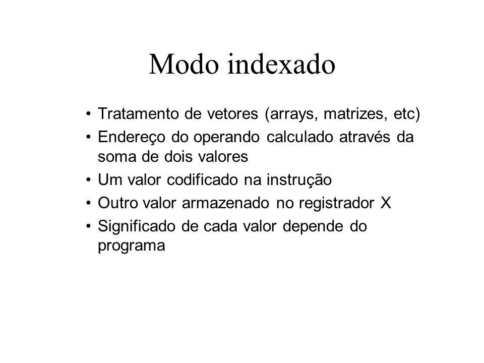 Modo indexado Tratamento de vetores (arrays, matrizes, etc)